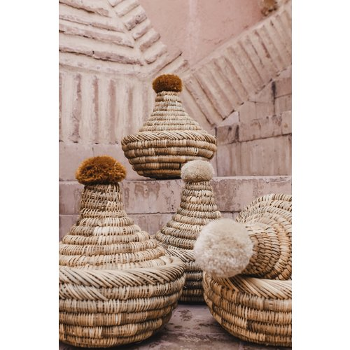 SOLD OUT! Raffia Pompom broodmand roest