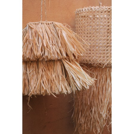SOLD OUT! Raffia fringe lampenkap triangle