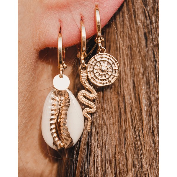 Oorhangers Snake gold plated