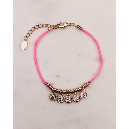 Club Nomad SOLD OUT! Armbandje Five Coins  gold plated pink