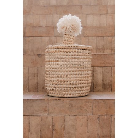 SOLD OUT! Raffia pompom broodmand beige L
