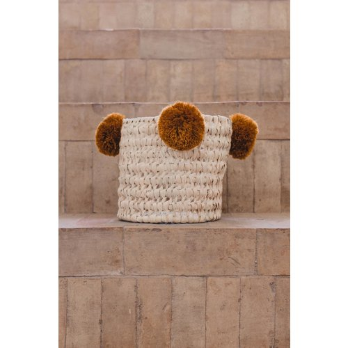 SOLD OUT! Pompom mand roest S