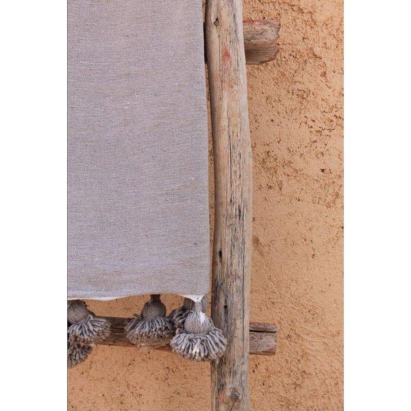 Pompom deken taupe 100x150 cm