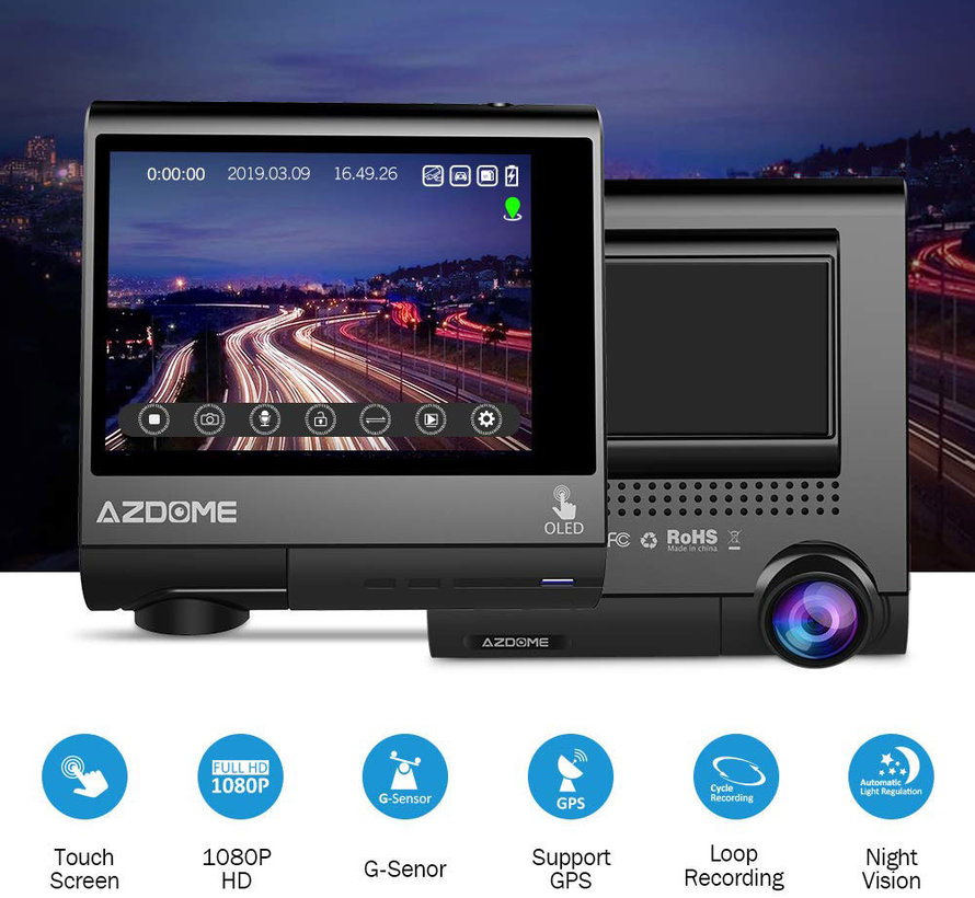 AZDome M05 Touch GPS FullHD dashcam