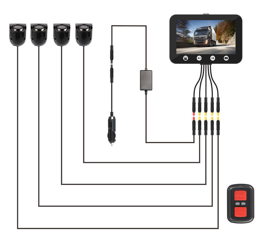 Motocam C4.3 4CH VGA truck dashcam