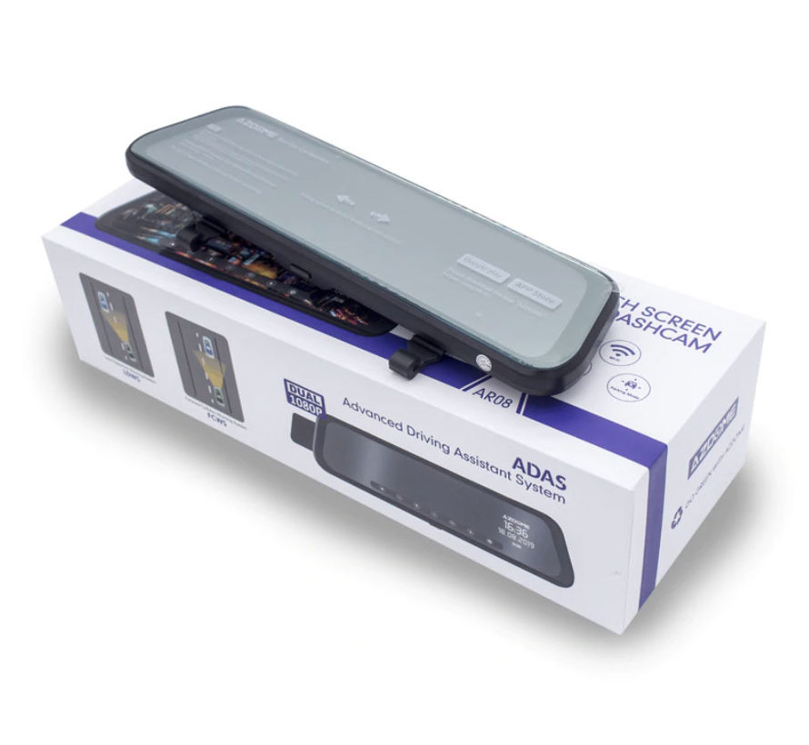 AZDome AR08 2CH Full Mirror Wifi Touch dashcam