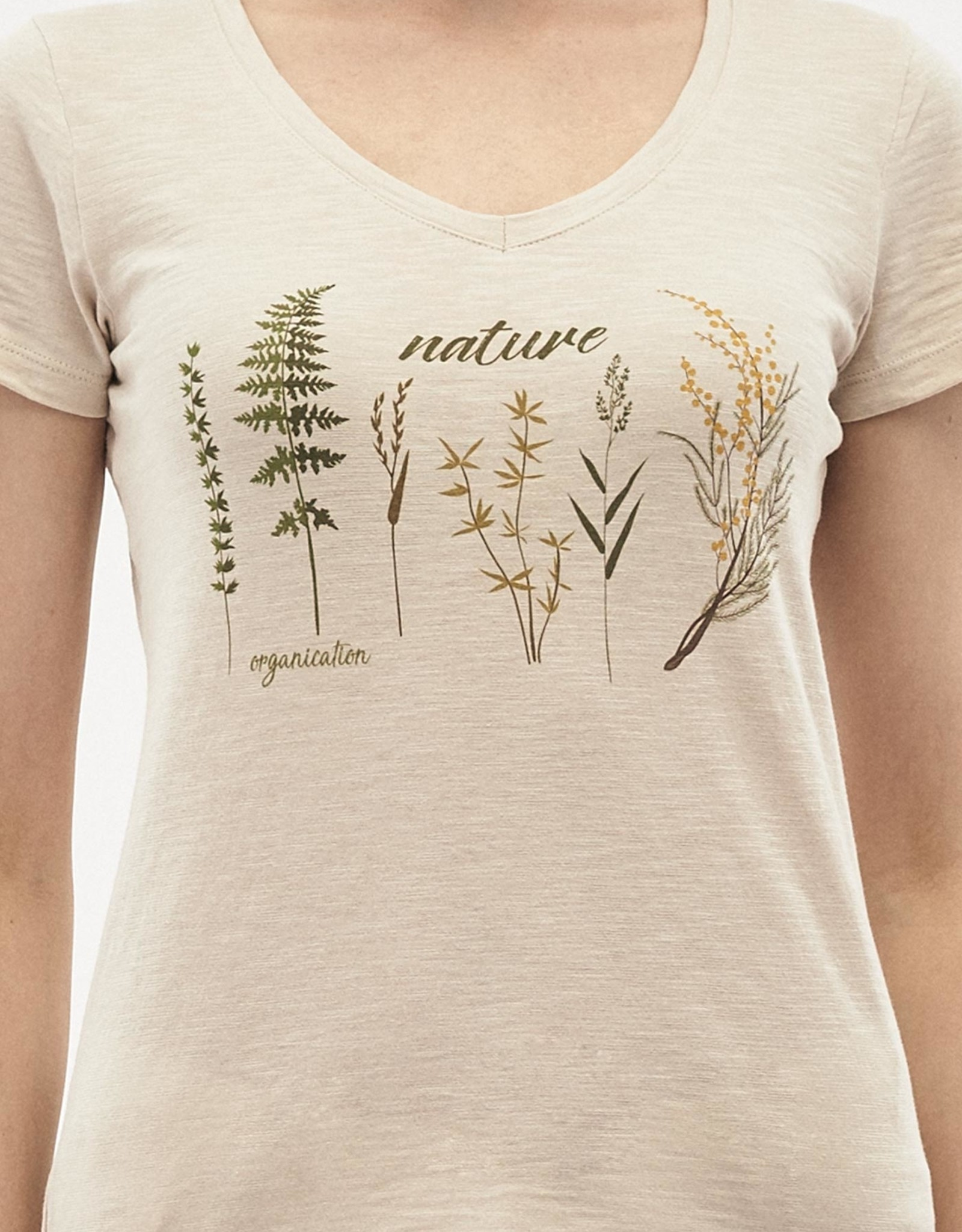 Organication T-SHIRT PRINT NATURE BEIGE