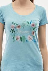 Organication T-SHIRT PRINT FLOWERS MILKY BLUE