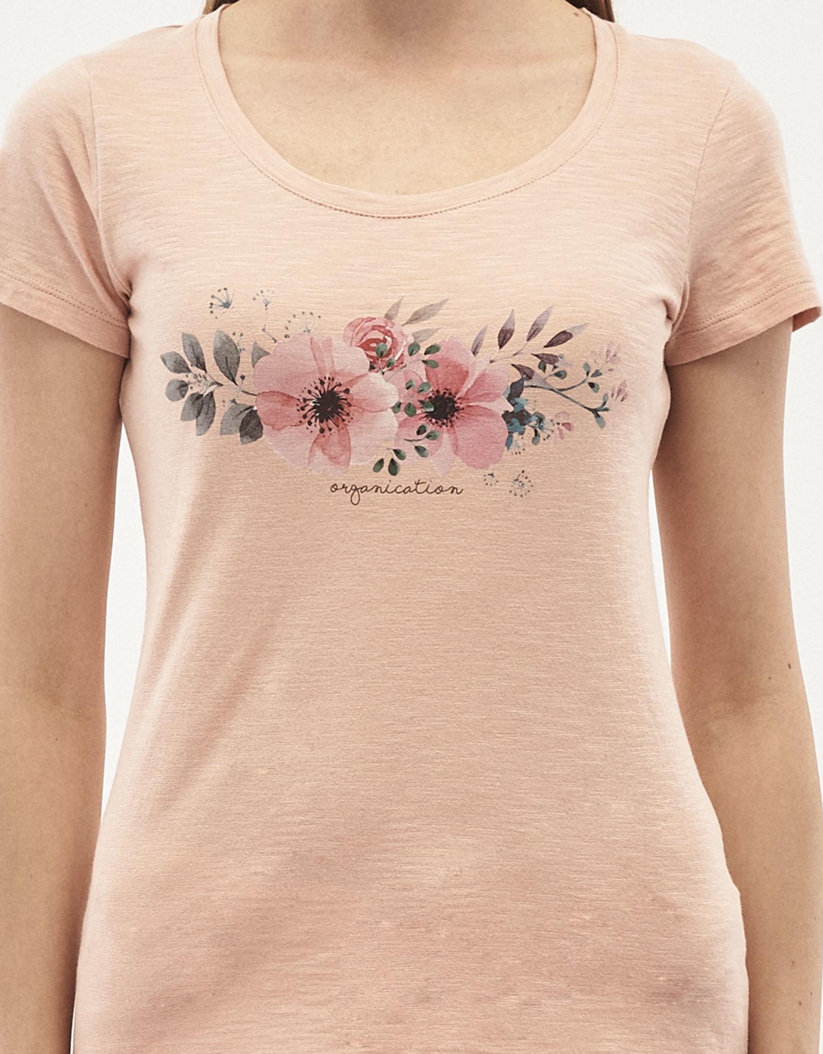 Organication T-SHIRT PRINT FLOWERS ROSE PINK SAND