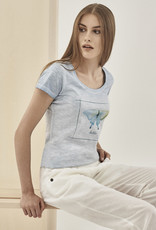 Organication T-SHIRT PRINT BUTTERFLY UNIQUE SHADE MILKY BLUE