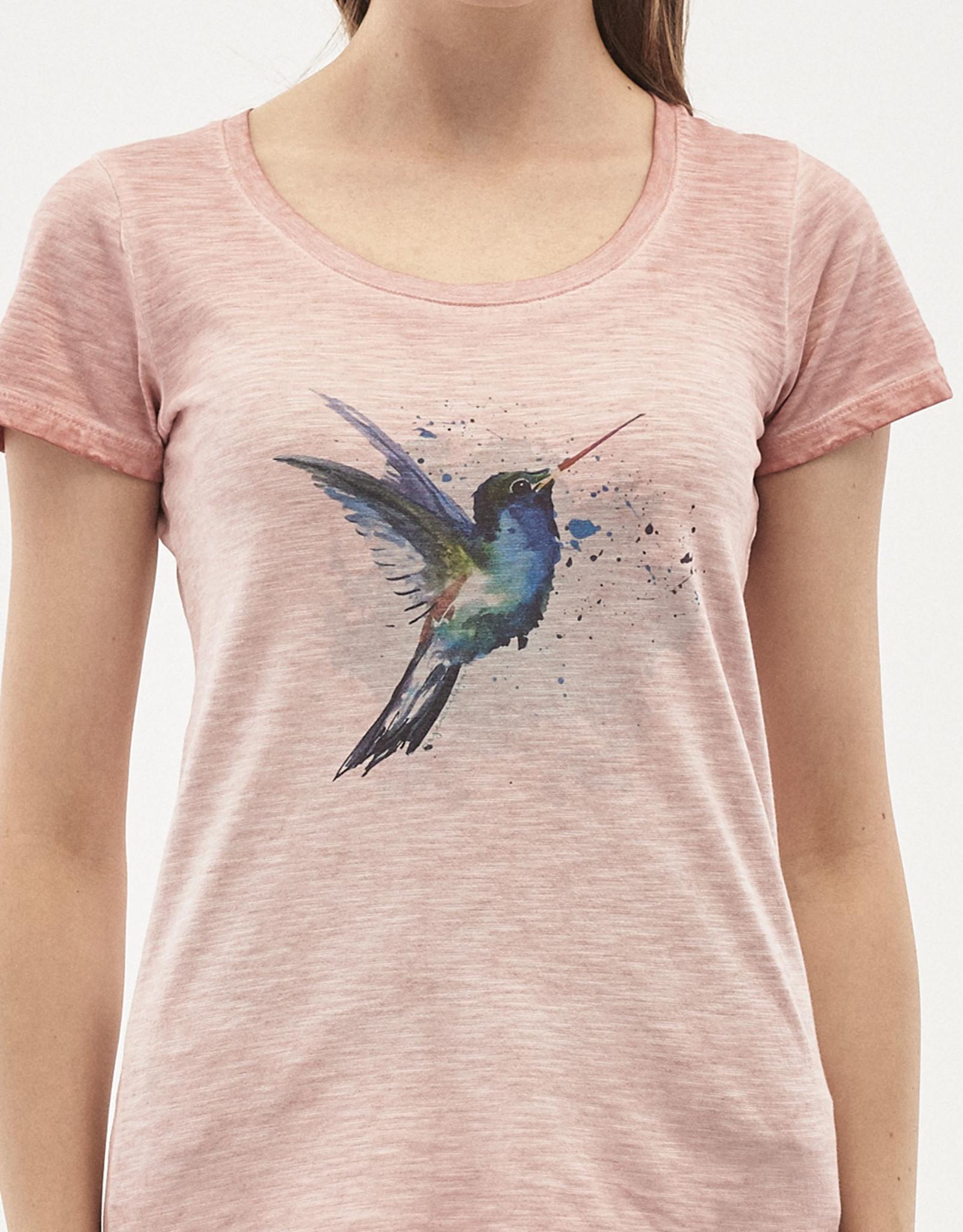 Organication T-SHIRT PRINT BIRD UNIQUE SHADE PEACHY
