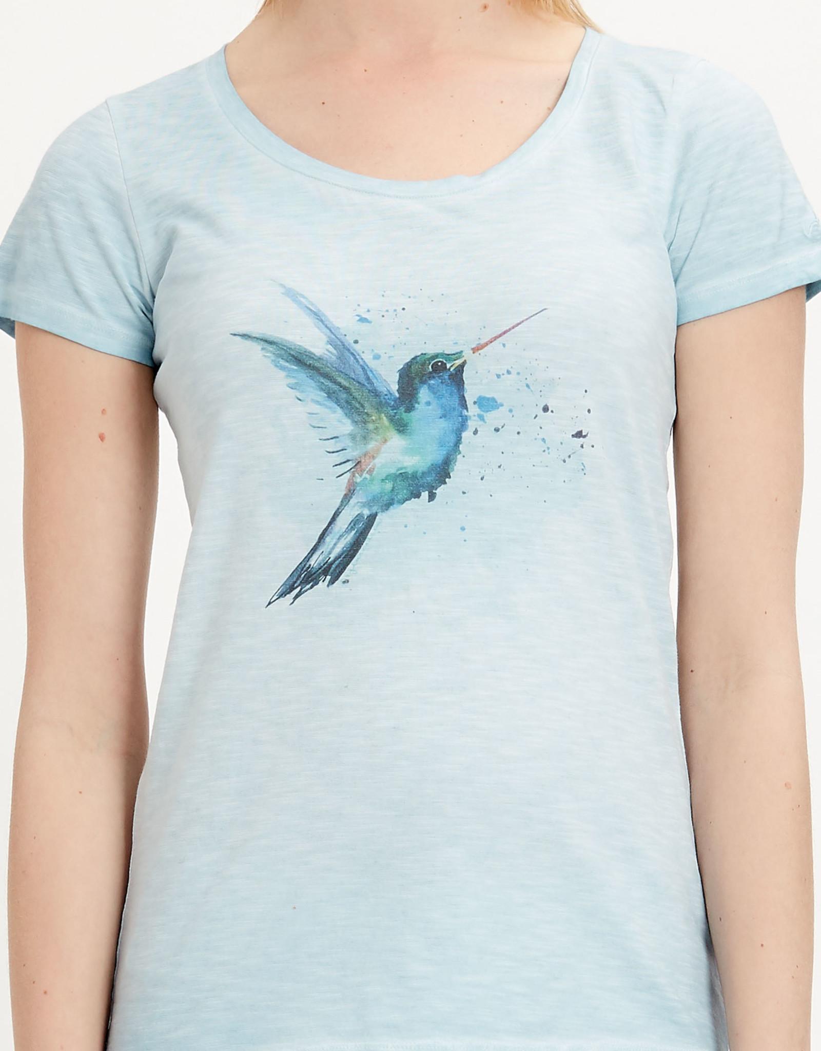 Organication T-SHIRT PRINT BIRD UNIQUE SHADE BLUE
