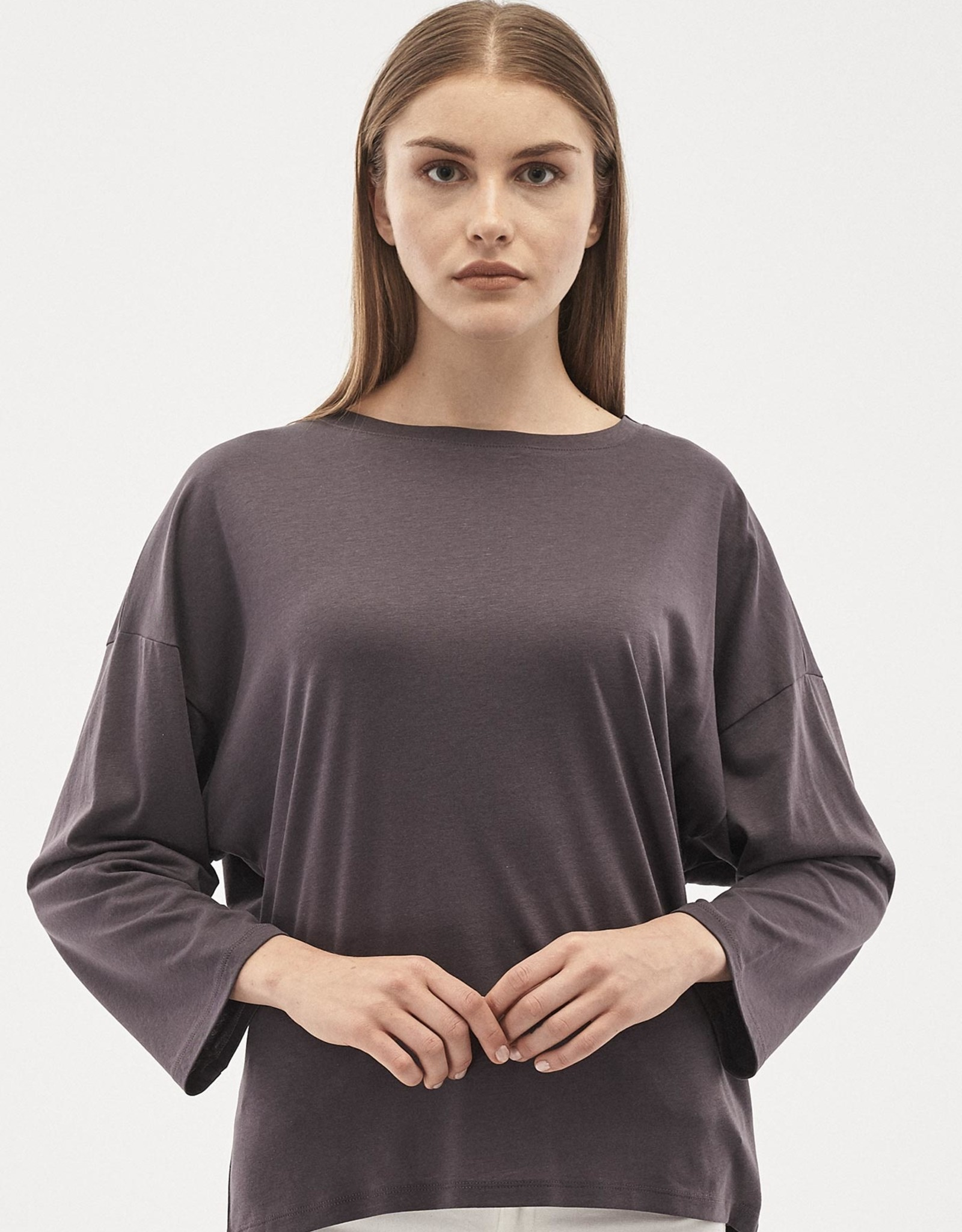 Organication BLOUSE SHIRT WIJDE MOUW ANTHRACITE