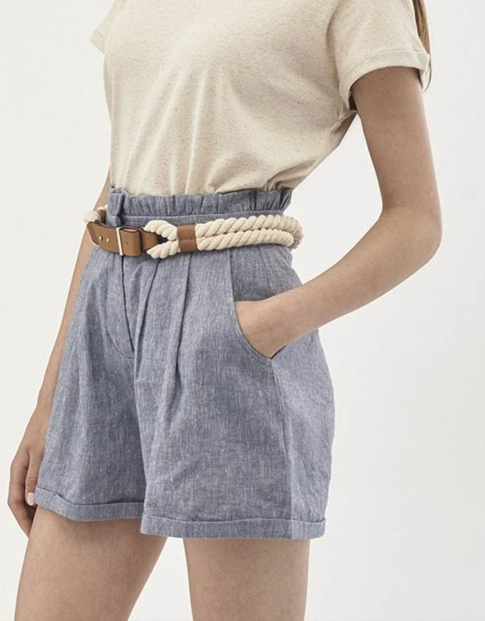 Organication SHORT LINNENMIX DENIMLOOK