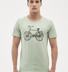 Organication T-SHIRT VINTAGE BIKE WATERGREEN