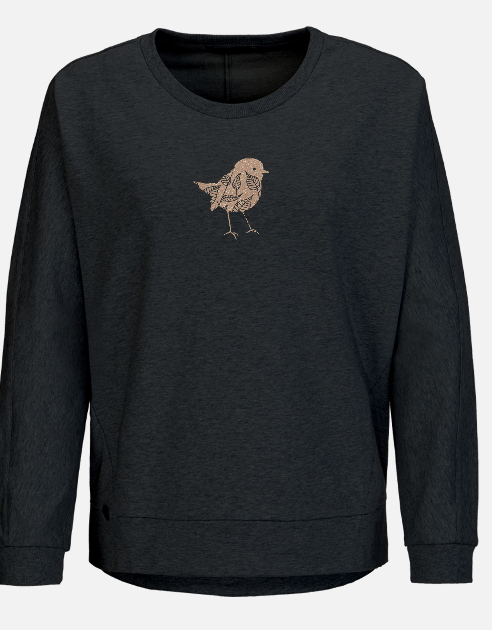 Greenbomb SWEATSHIRT GOLDPRINT BIRD BLACK