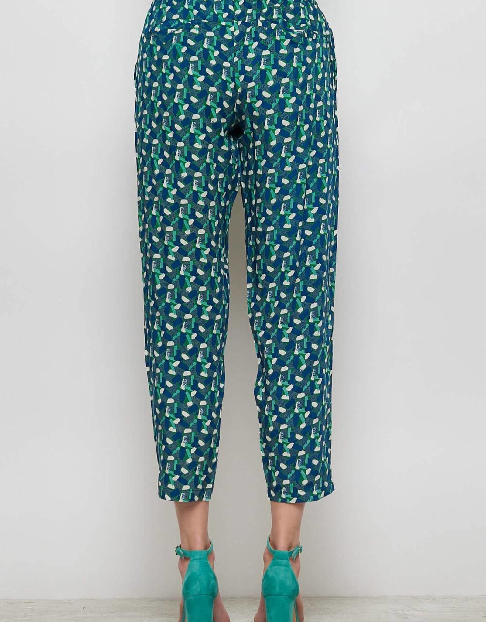 Tranquillo BROEK GREEN CANDY PRINT ECOVERO