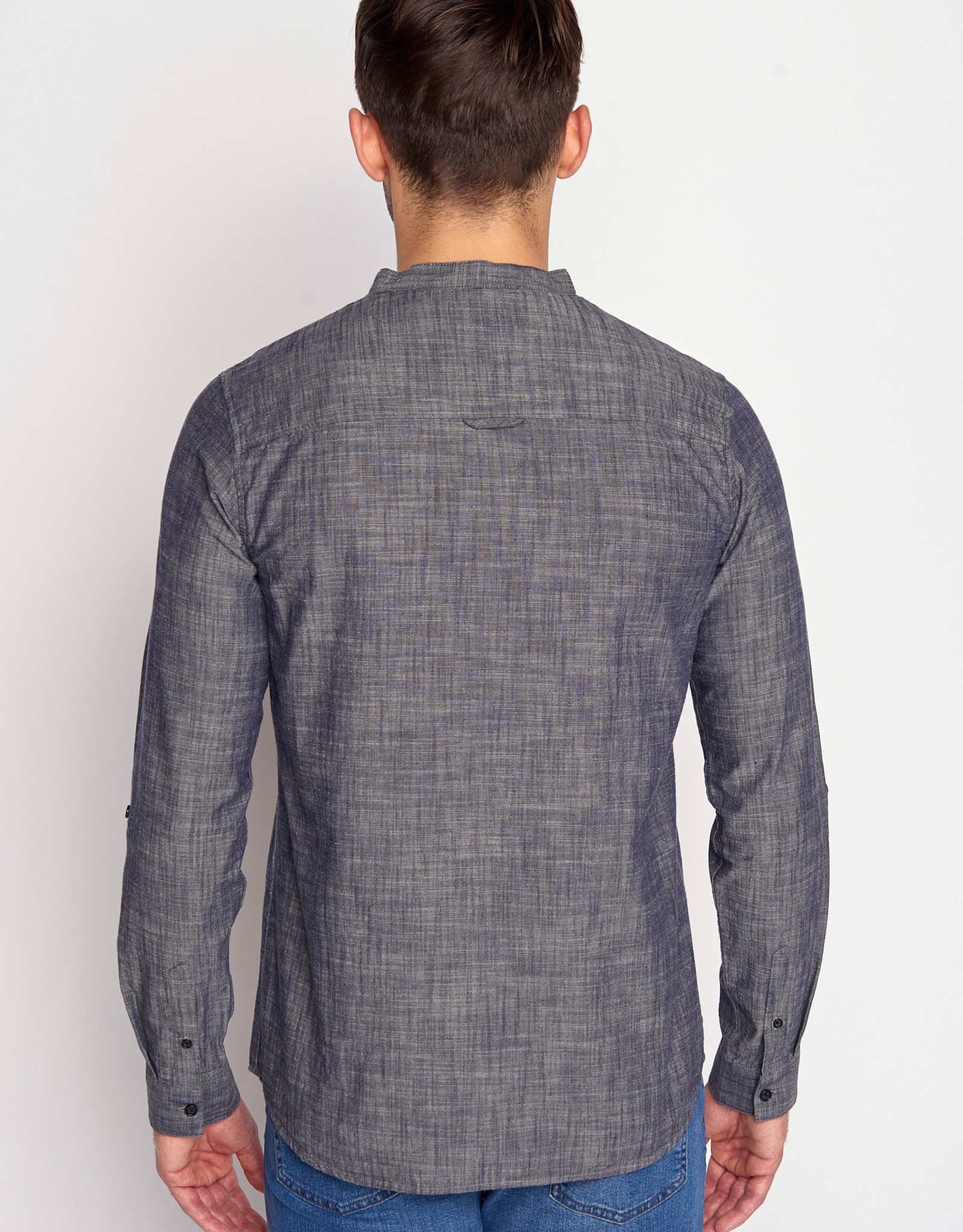 Greenbomb HEMD OFFICIERSKRAAG LONGSLEEVE INK GREY MELANGE