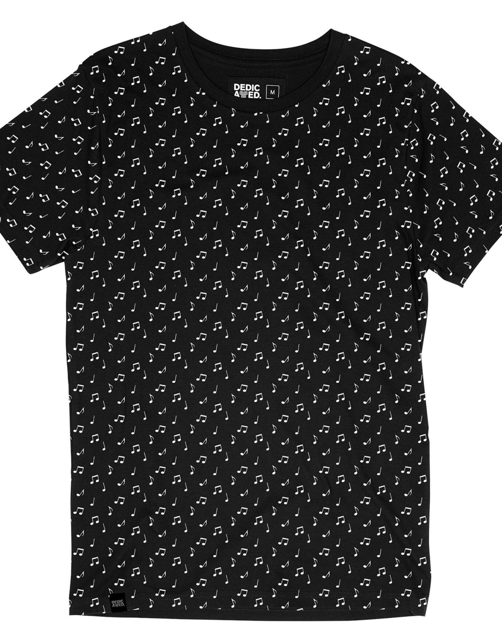 Dedicated T-SHIRT MUSIC NOTES BLACK
