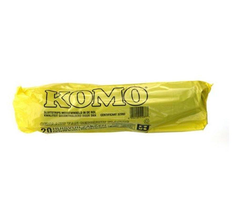 Huisvuilniszakken Kivo Komo 60x80cm T50 Zwart 20 rollen