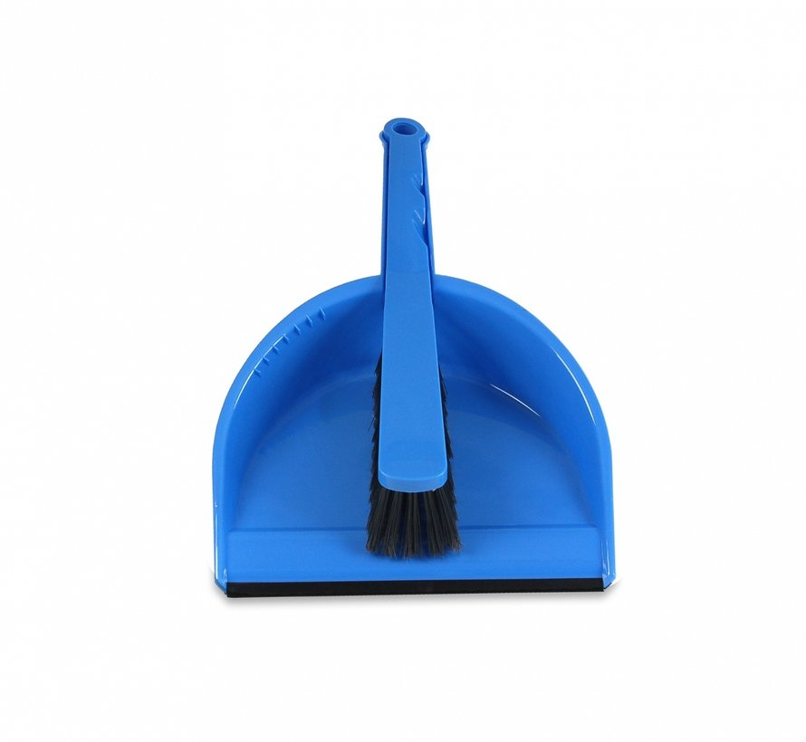 Stoffer en blik set kunststof met rubberen strip - blauw