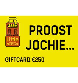 Giftcard €250 + €5 extra tegoed + blik bier + geheime blikkentap+