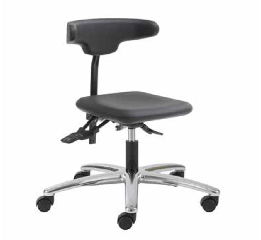 Cleanroom stoel-  wielen - hoogte 42/55 cm