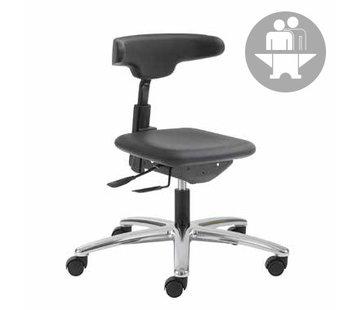 Throna Cleanroom stoel - Intensief gebruik-  wielen - hoogte 42/55 cm