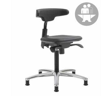 Throna Cleanroom stoel - Intensief gebruik-  glijders - hoogte 50/85 cm