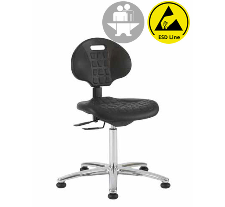 Cleanroom stoel - ESD - intensief gebruik - glijders - hoogte 51/86 cm