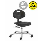 Throna Cleanroom stoel - ESD - intensief gebruik - wielen - hoogte 43/56 cm