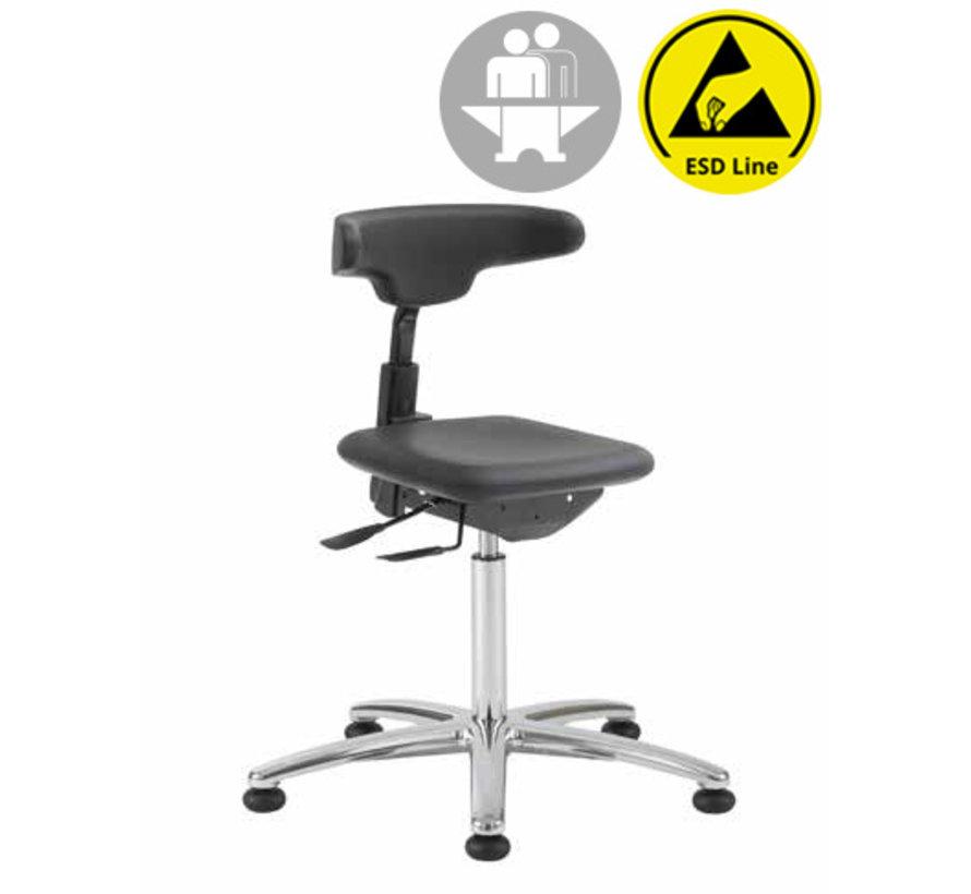 Cleanroom stoel - ESD - intensief gebruik - glijders - hoogte 50/85 cm