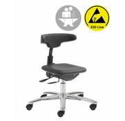 Throna Cleanroom stoel - ESD - intensief gebruik -  wielen - hoogte 42/55 cm