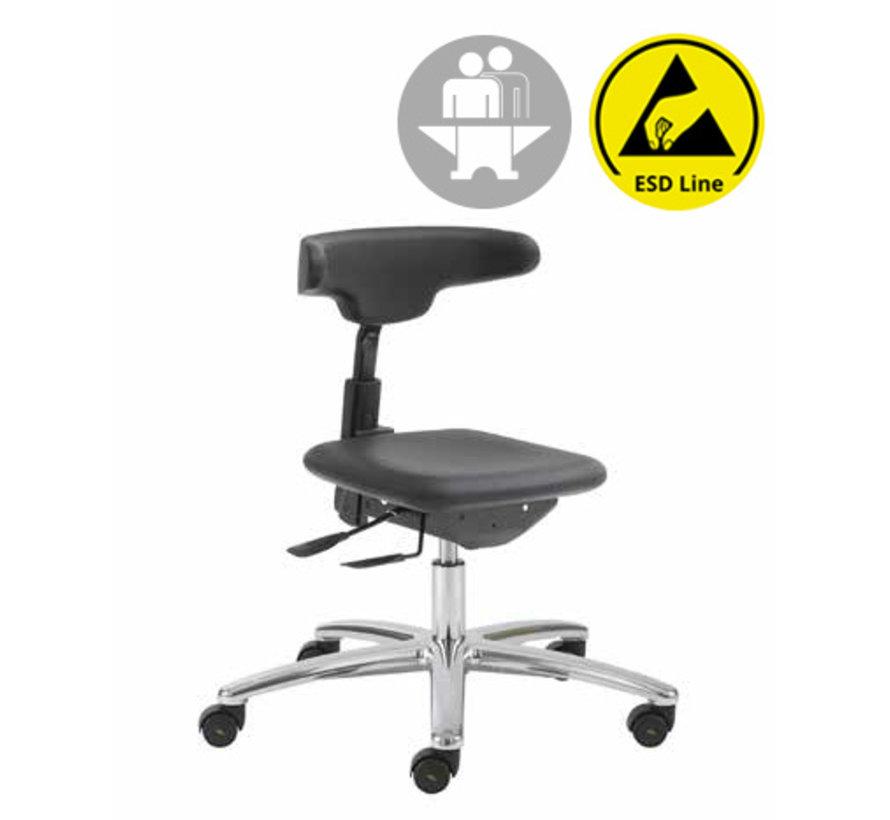 Cleanroom stoel - ESD - intensief gebruik -  wielen - hoogte 42/55 cm