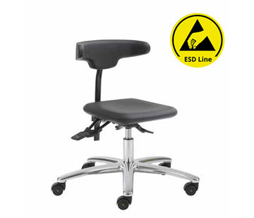 Throna Cleanroom stoel - ESD -  wielen - hoogte 42/55 cm