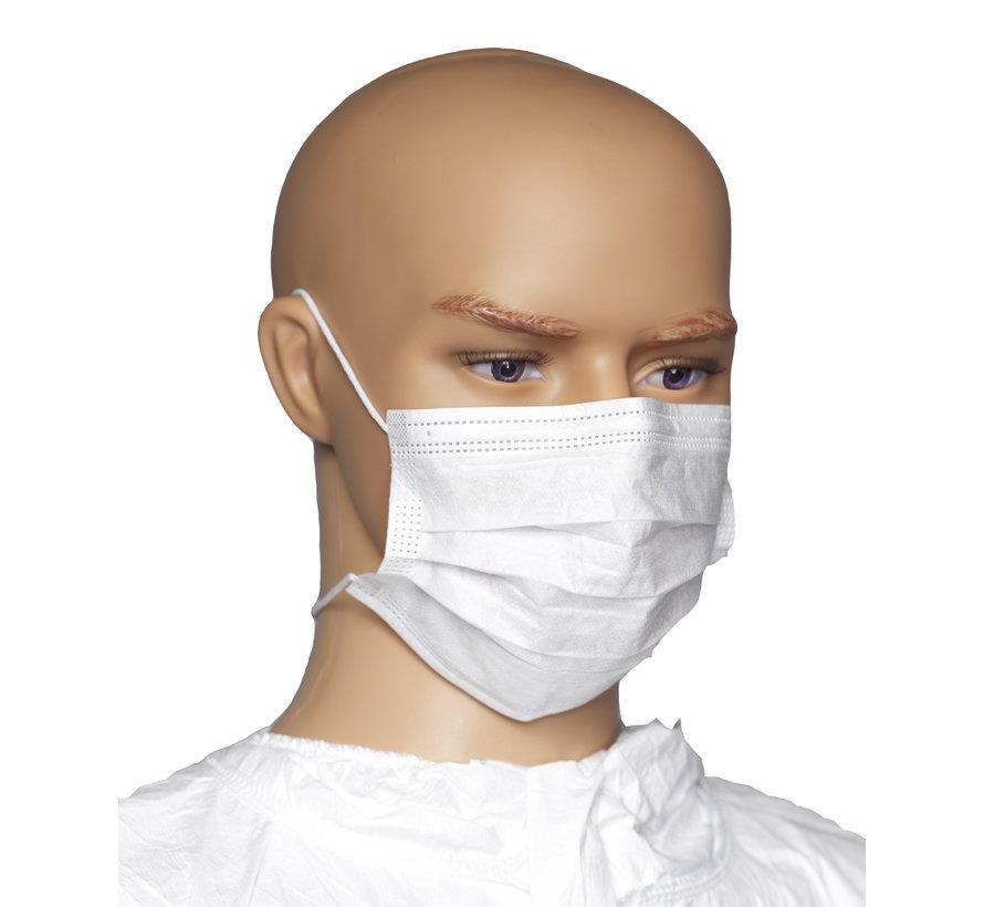 Cleanroom mondkapje PFE en BFE type 'head-ties'