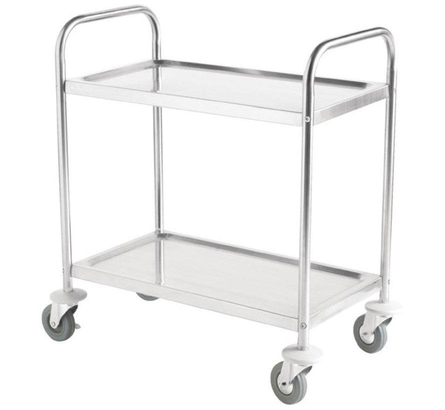 RVS cleanroom service trolley twee legborden (zelfmontage)