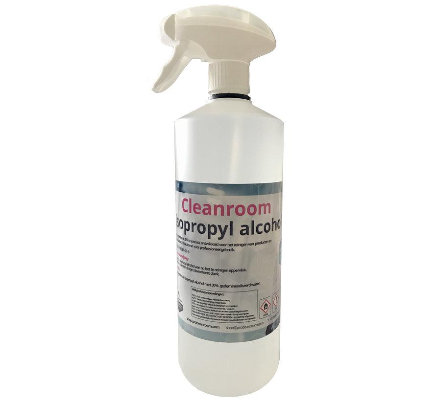 Cleanroom 70% Isopropyl en 30% DI water 1 liter spray fles (Ongefilterd)