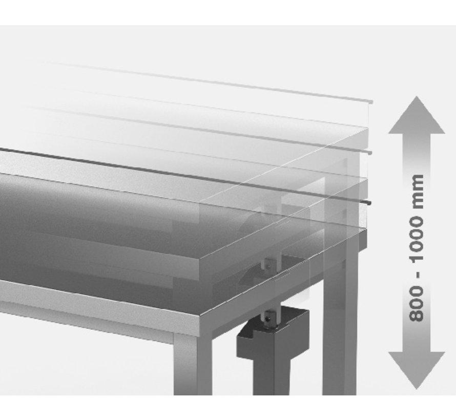 RVS  werktafel handmatig in hoogte verstelbaar met legbord