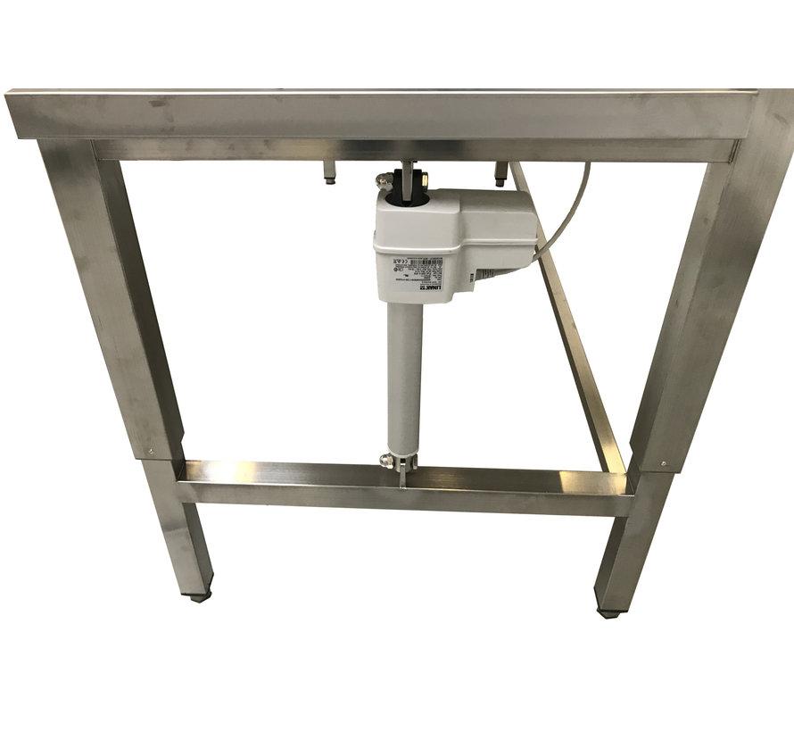 RVS werktafel elektrisch in hoogte verstelbaar met legbord