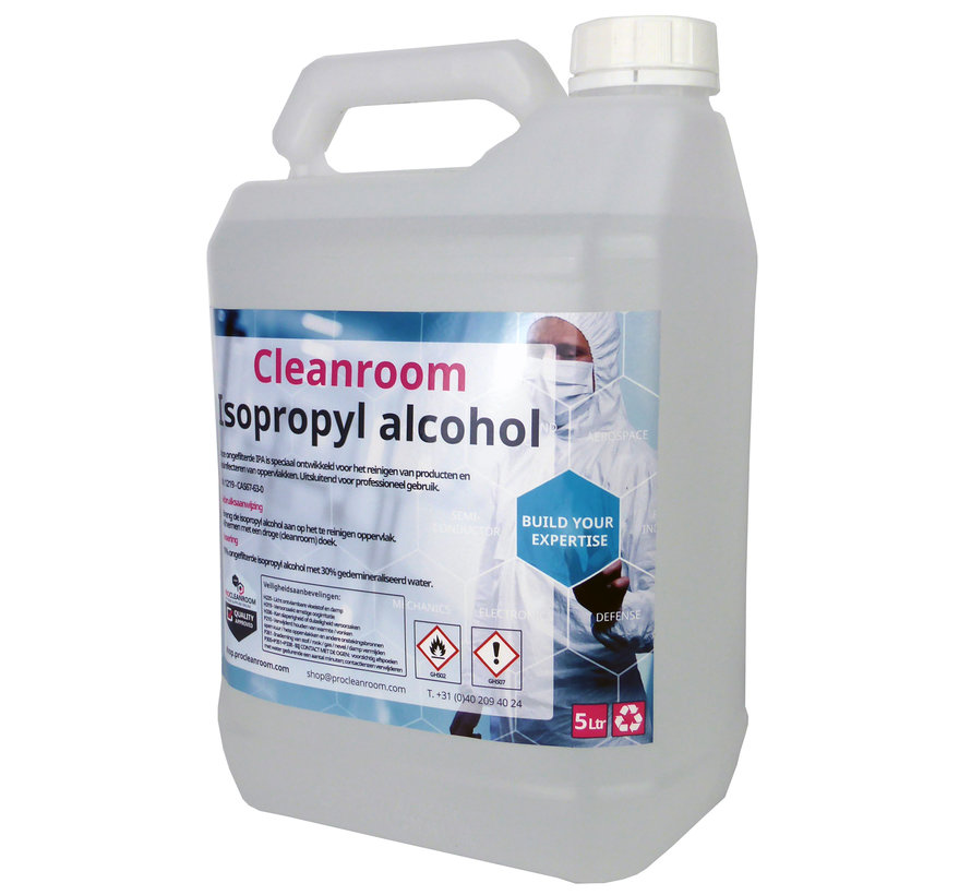 Cleanroom 70% Isopropyl alcohol  en 30% DI water 5 liter jerrycan