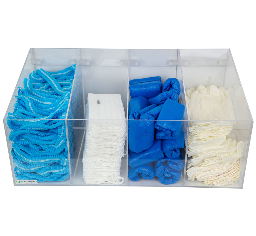 Cleanroom dispenser voor consumables met 4 vakken