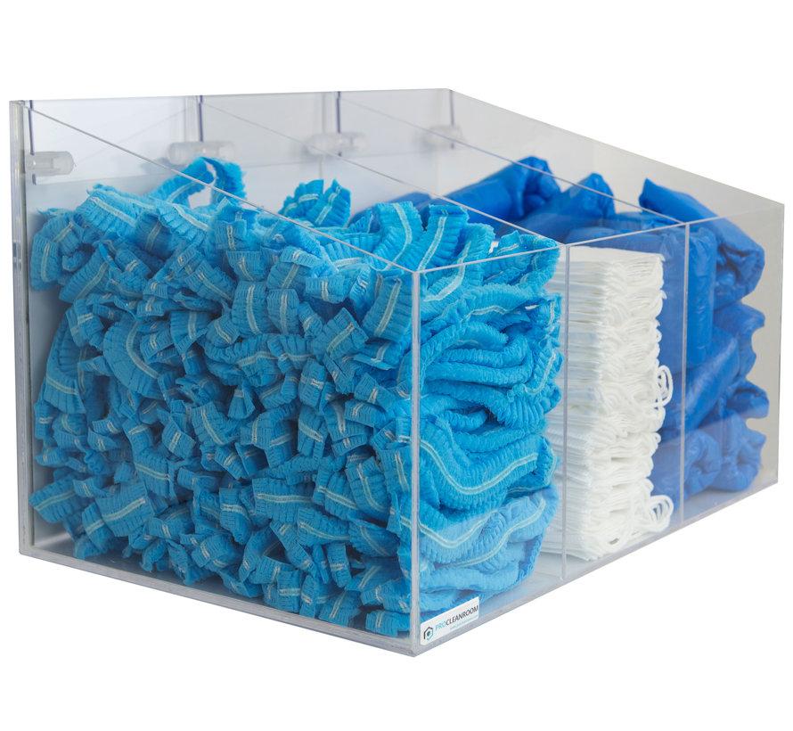 Cleanroom dispenser voor consumables met 3 vakken
