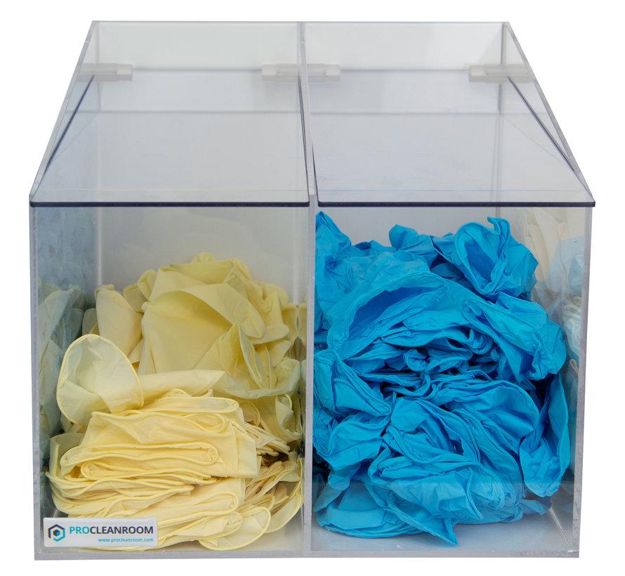 Cleanroom dispenser voor consumables met 2 vakken