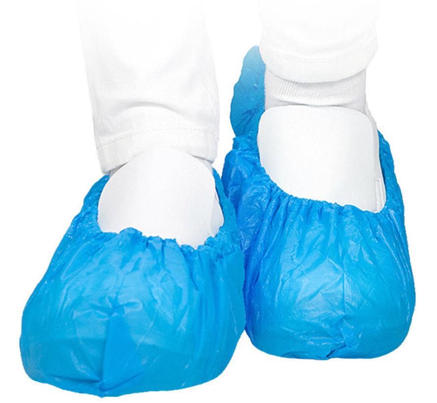 Blauwe cleanroom verpakte overschoen CPE  100 mu - 40 x 15 cm