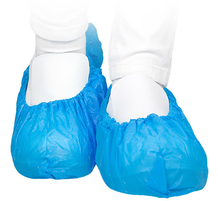 Blauwe overschoen van PE (Polyethyleen) 75 mu 41 x 15 cm