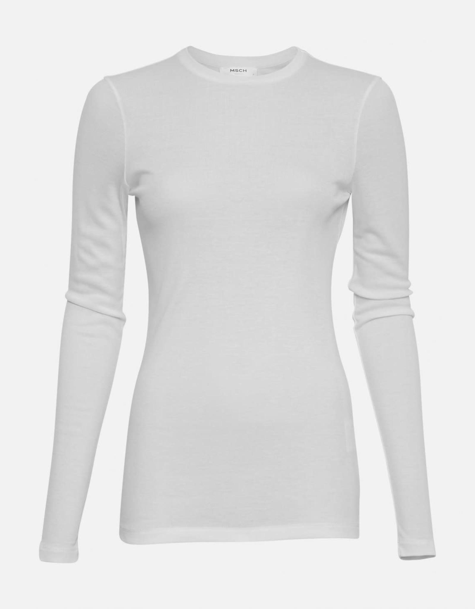 Moss Copenhagen Top T-Shirt lange mouw 'Mona' Lyocell - Wit