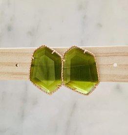 The Golden House Oorringen 'Cateye' - Olivegreen