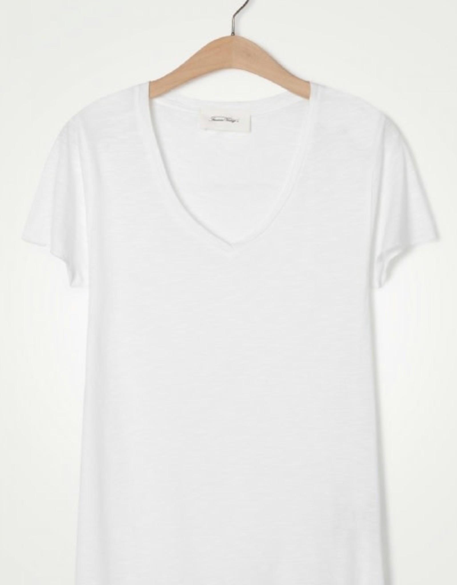 American Vintage T-shirt 'Jacksonville' V- hals - Wit - American Vintage
