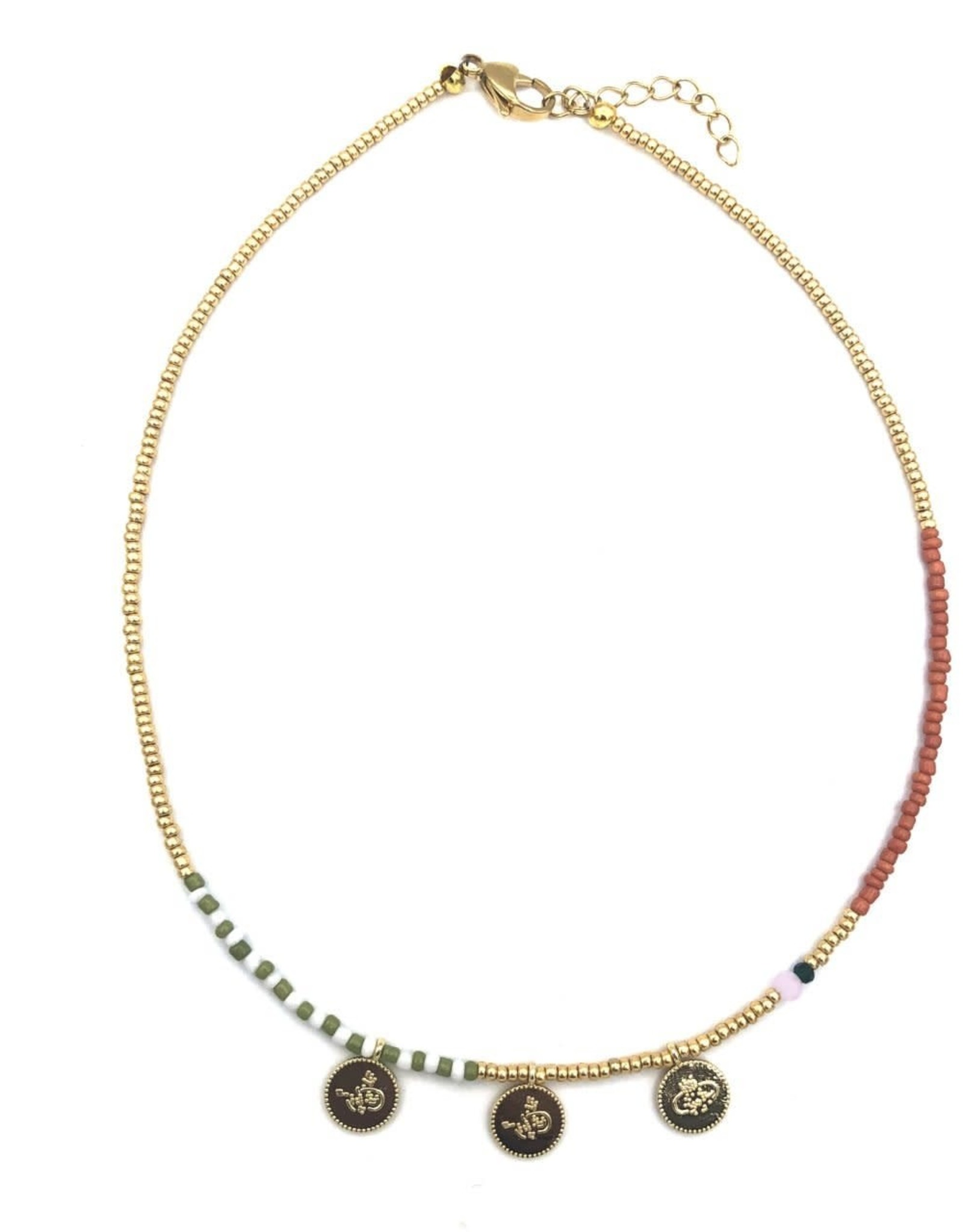 The Golden House 3 gold coins necklace brown